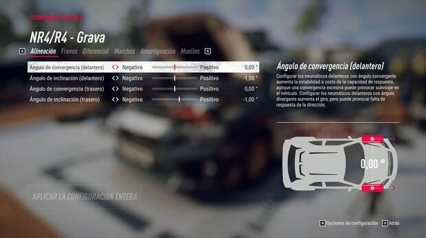 Podremos realizar todo tipo de ajustes en el coche antes de cada competición.