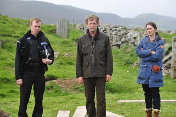 "Steven Robertson, Douglas Henshall and Alison O'Donnell in ""Shetland"""