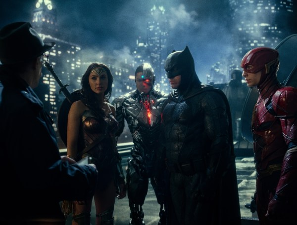 "(L-R) J.K. SIMMONS as Commissioner Gordon, GAL GADOT as Wonder Woman, RAY FISHER as Cyborg, BEN AFFLECK as Batman and EZRA MILLER as The Flash in Warner Bros. Pictures' action adventure ""JUSTICE LEAGUE,"" a Warner Bros. Pictures release. Photo Credit: Courtesy of Warner Bros. Pictures/ TM & © DC Comics"