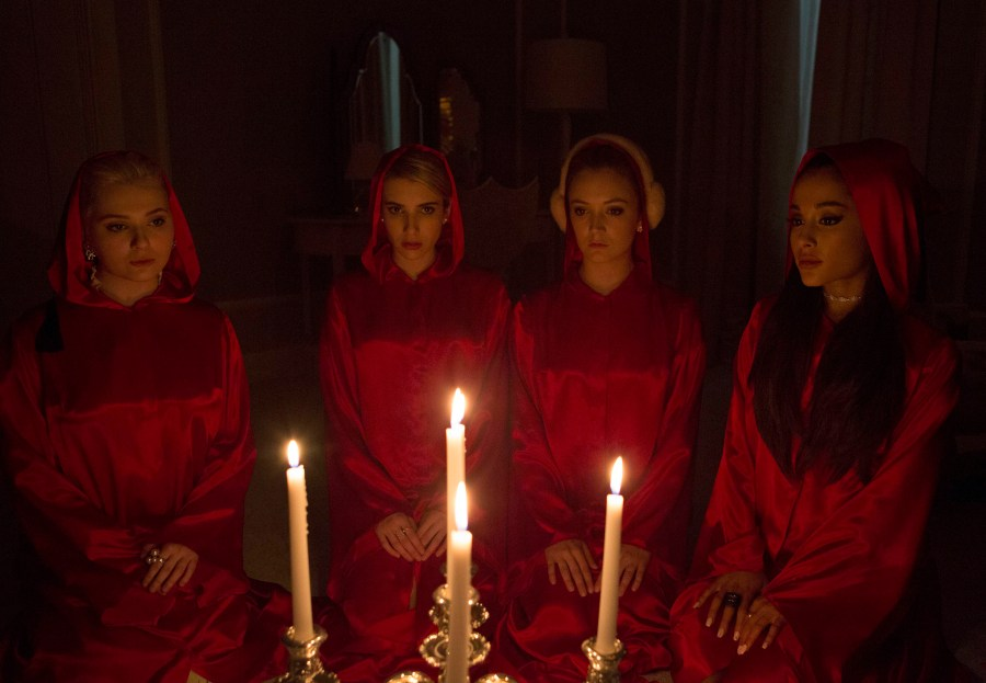 SCREAM QUEENS: Chanels on SCREAM QUEENS premiering September 2015 on FOX. ©2015 Fox Broadcasting Co. Pictured L-R: Abigail Breslin, Emma Roberts, Billie Lourd and guest-star Ariana Grande. CR: Steve Dietl/FOX