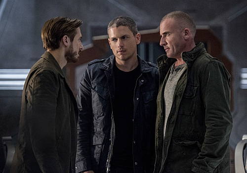 Pictured (L-R): Arthur Darvill as Rip Hunter, Wentworth Miller as Leonard Snart/Captain Cold and Dominic Purcell as Mick Rory/Heat Wave. Photo: Cate Cameron/© 2016 The CW Network, LLC. All Rights Reserved.
