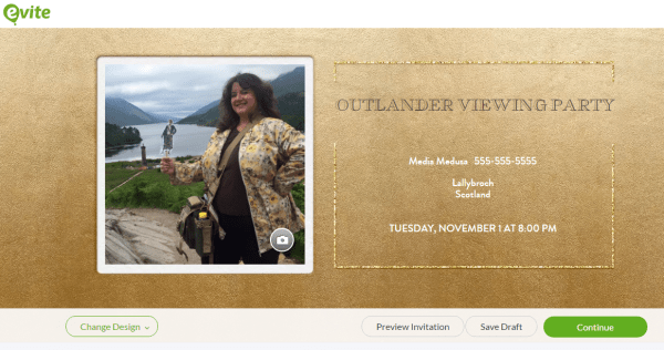 Gold Evite Invitation for Outlander Viewing Party