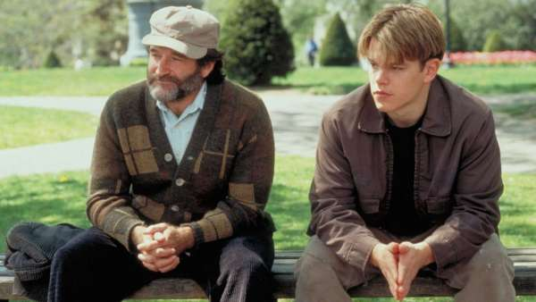 Robin Williams and Matt Damon in Good Will Hunting