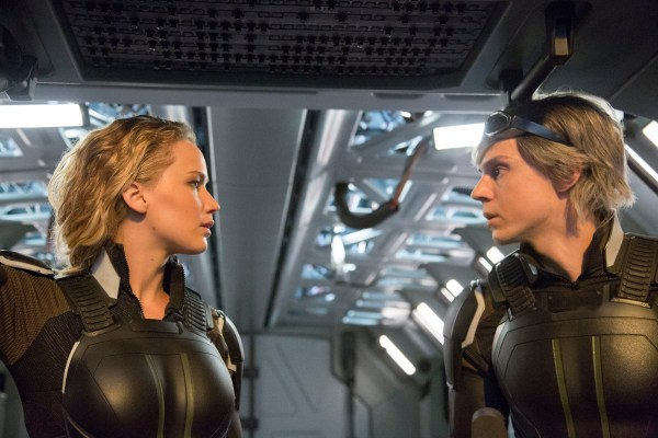 Jennifer Lawrence as Raven / Mystique and Evan Peters as Peter / Quicksilver in X-MEN: APOCALYPSE. Photo Credit: Alan Markfield.