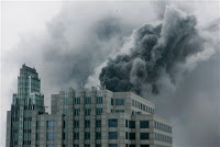 smoke pouring from chicago high-rise
