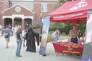 grim reaper visits with the marines at georgia college