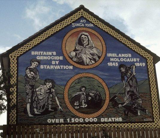 Irelands Holocaust 1845–1849, over 1500000 deaths mural on the Ballymurphy Road - Belfast - An Gorta Mór - Britains genocide by starvation