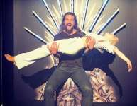 Emilia Clarke and Jason Momoa Have Game of Thrones Reunion on the Iron Throne