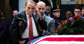Bob Dole Rises From Wheelchair In Emotional Salute To George H.W. Bush