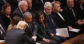Trumps And Obamas Share Awkward, Tense Moment At George H.W. Bush Funeral
