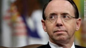 The deputy attorney general, who appointed Robert Mueller to investigate Russian interference in the 2016 election, has submitted his resignation letter
