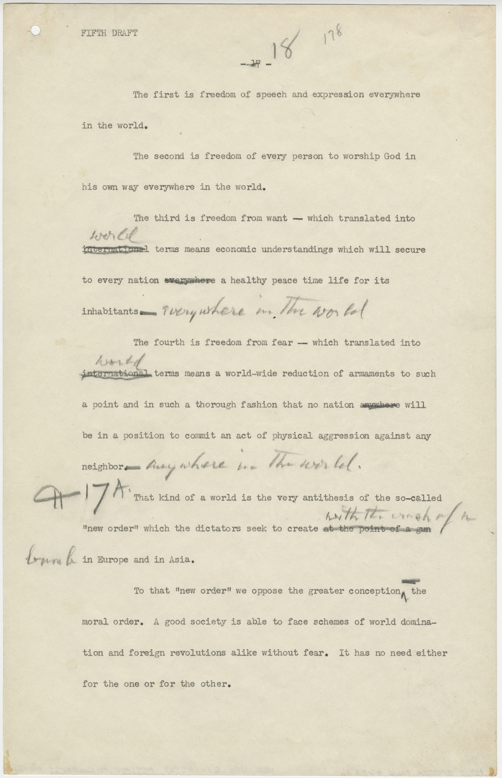 Franklin Roosevelt, Four Freedoms