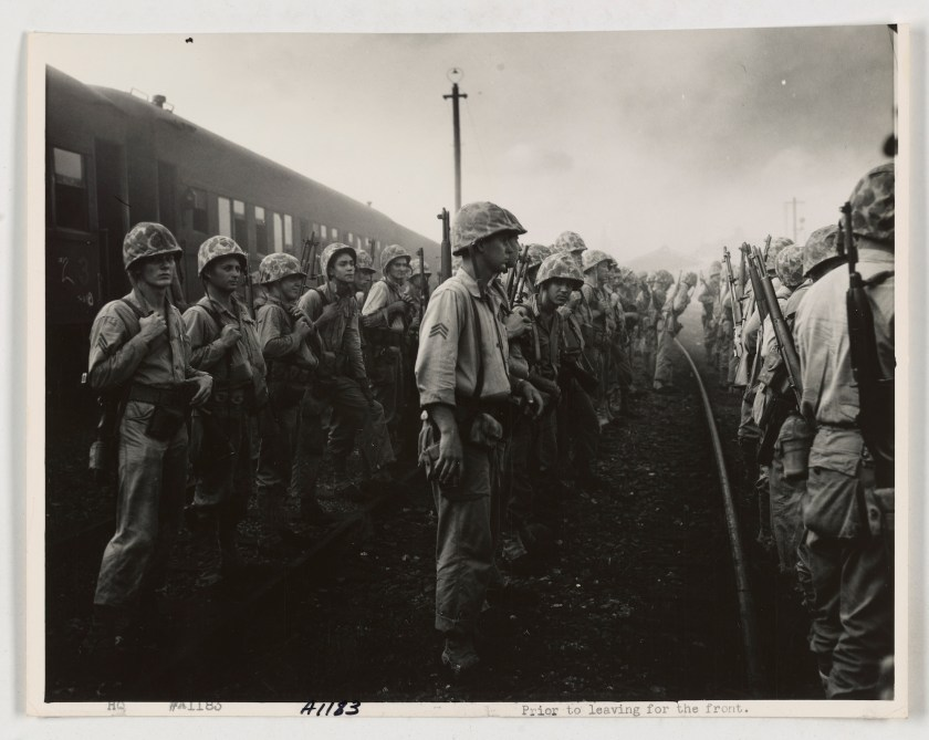 Korean War 3rd platoon of D Co, 2nd Bn, 5th marines muster at train station