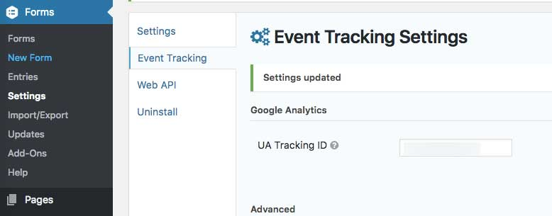 Event Tracking Settings