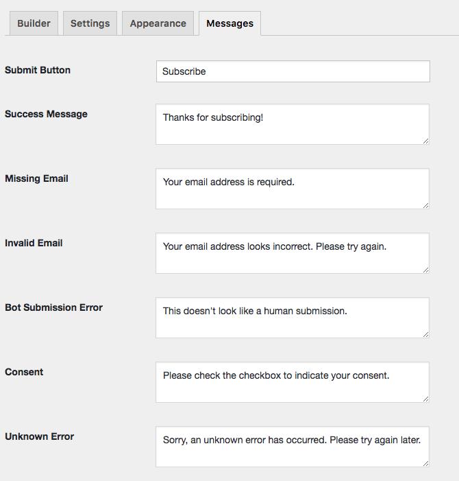 EmailOctopus Form Builder Messages