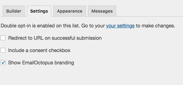 EmailOctopus Form Builder Settings