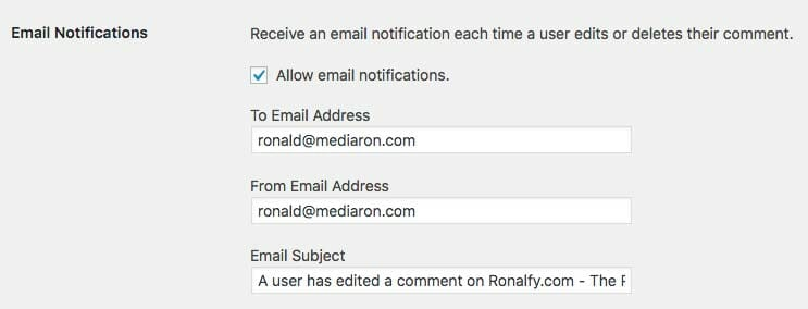 Email Notifications for Simple Comment Editing Options