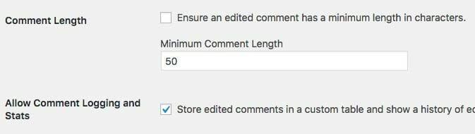Minimum Comment Length and Comment Logging