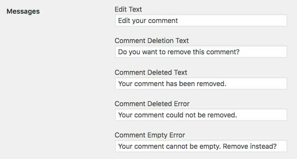 Messages Options for Simple Comment Editing Options