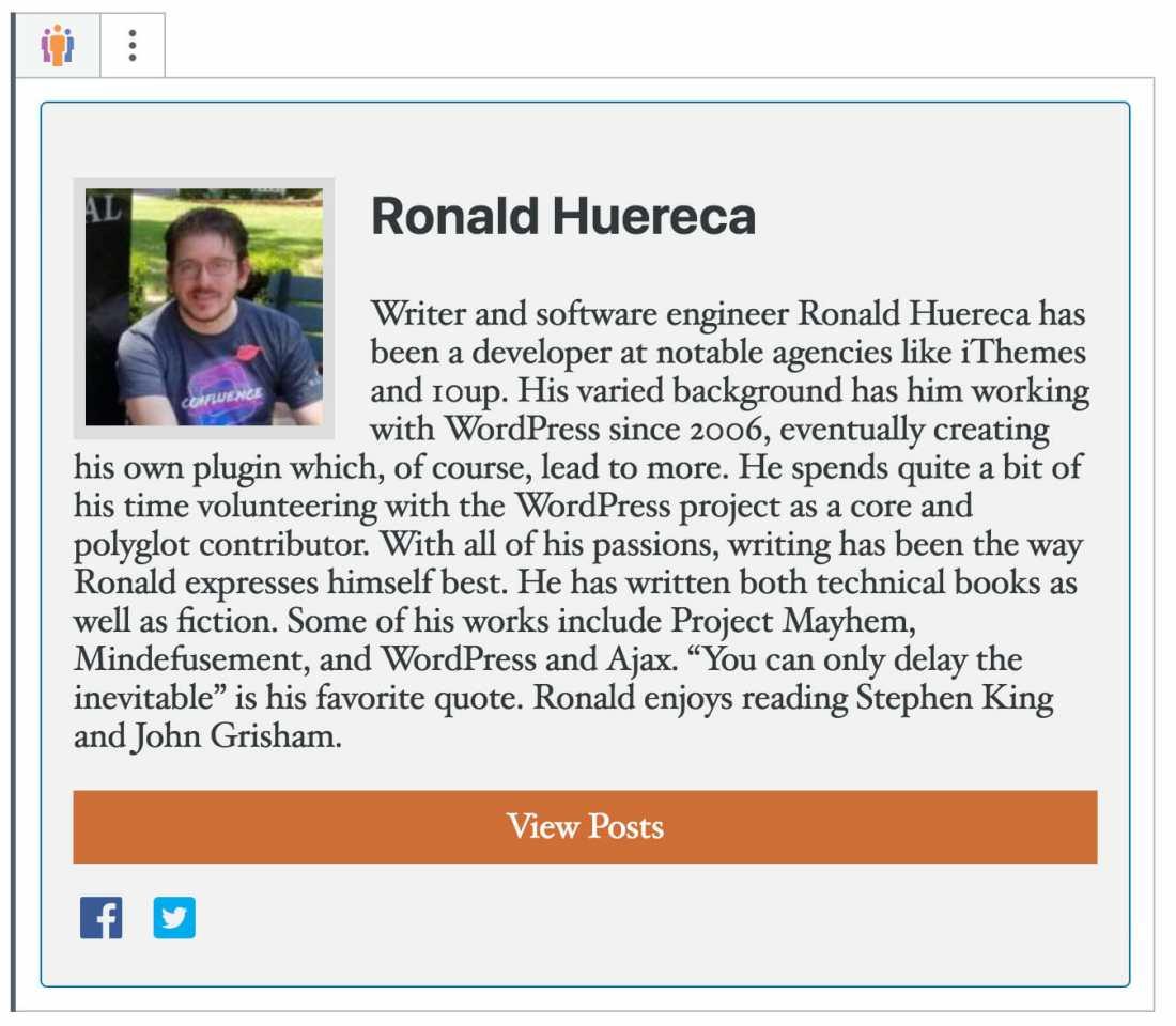 User Profile Picture Gutenberg