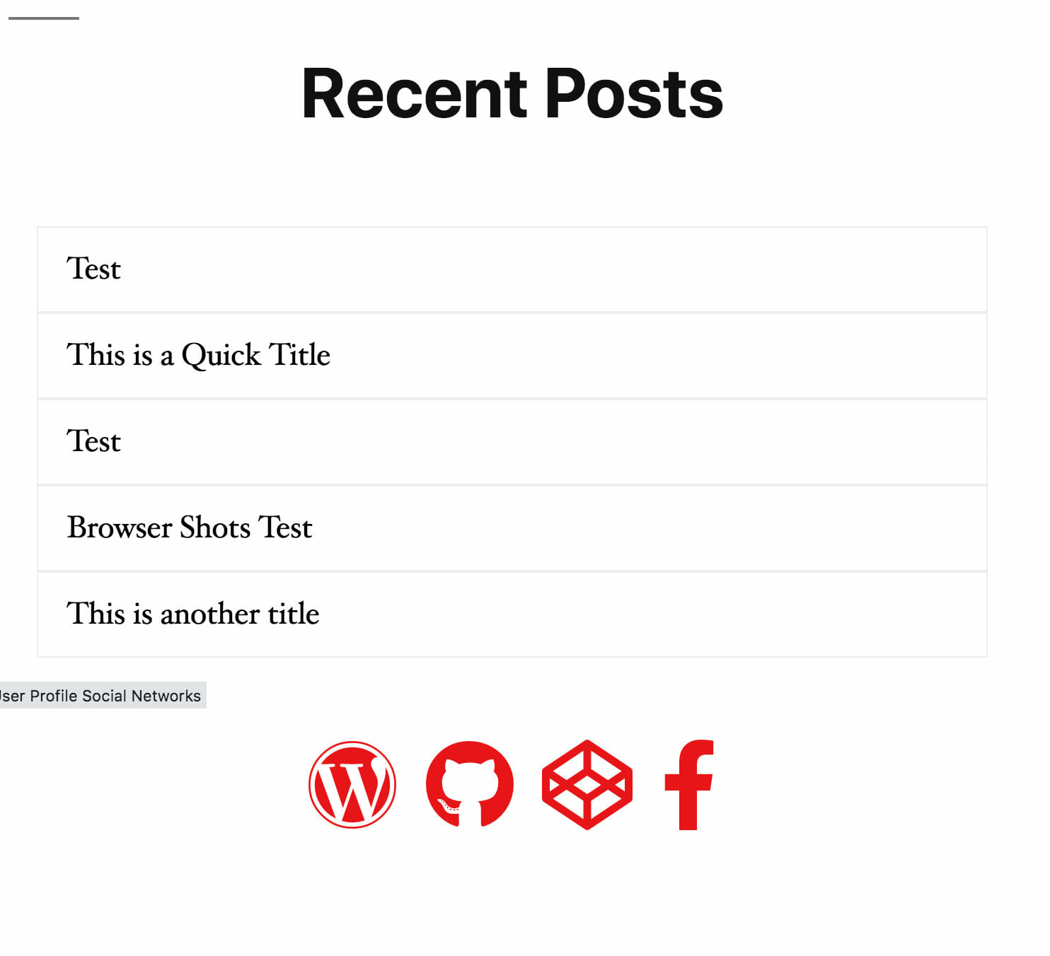 User Profile Page Blocks Author Posts and Social Networks