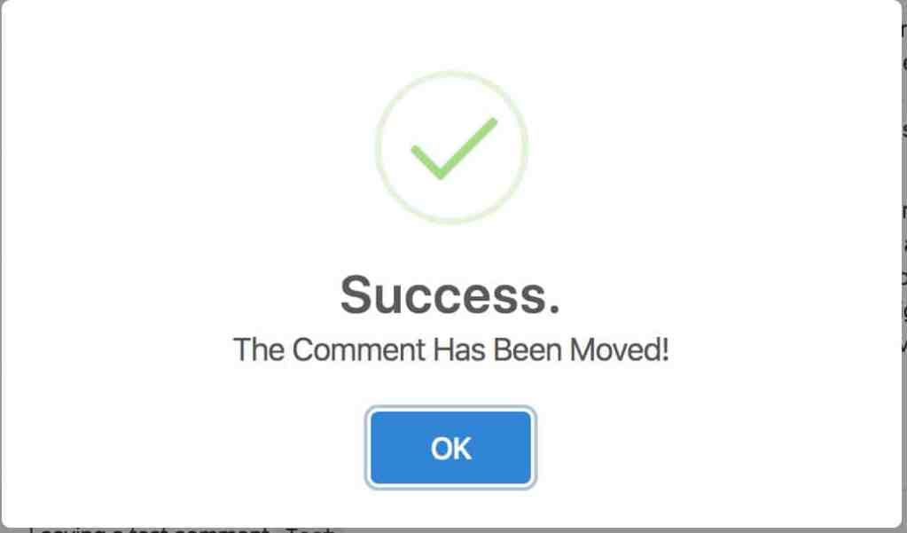 Comment Move Success Screen