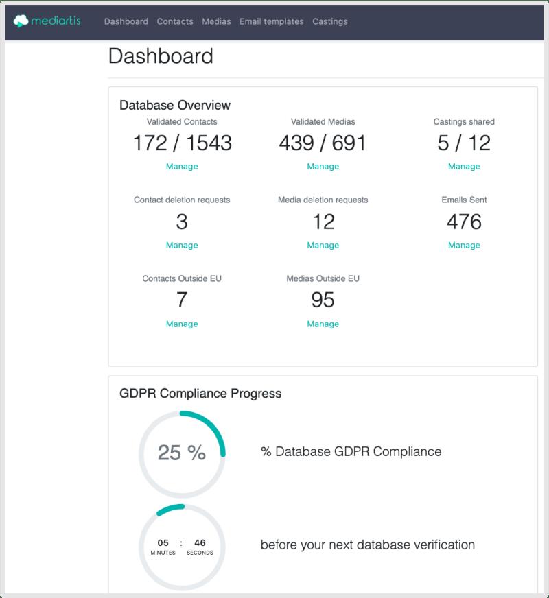 Mediartis account dashboard