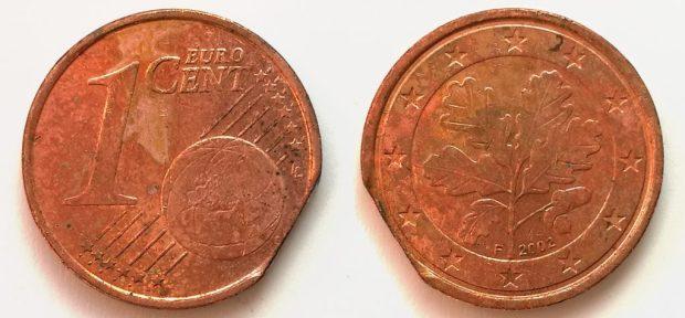1 Cent Allemagne 2002F clipée bord de feuille