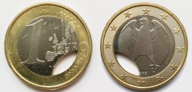 1 Euro Allemagne 2002F clipée sur coeur