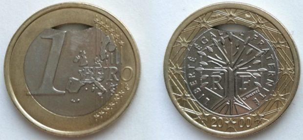 1 Euro France 2000 clipé sur coeur