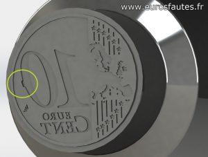 Modélisation 3D d'un coin cassé sur le revers