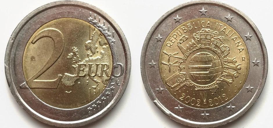2 Euro Italie 2012 avec listel cassé avers/revers