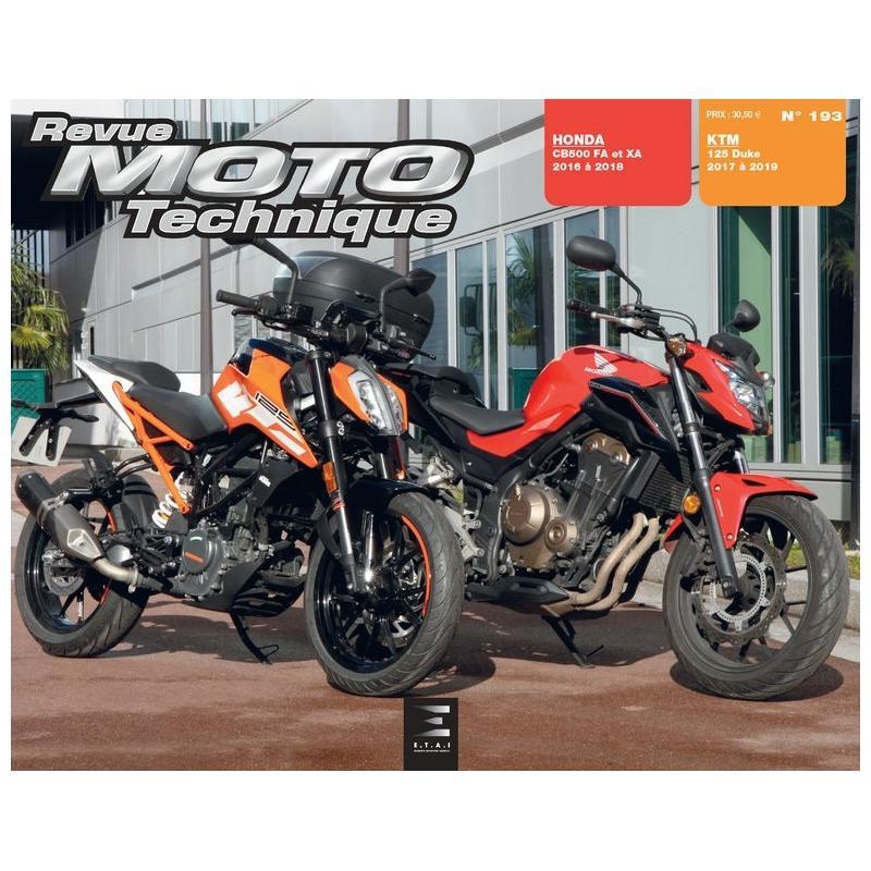 revue moto technique 193 ktm duke 125 17 19 honda cb500 fa xa 16 18