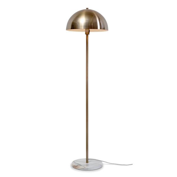 lampadaire en metal dore et pied en marbre blanc