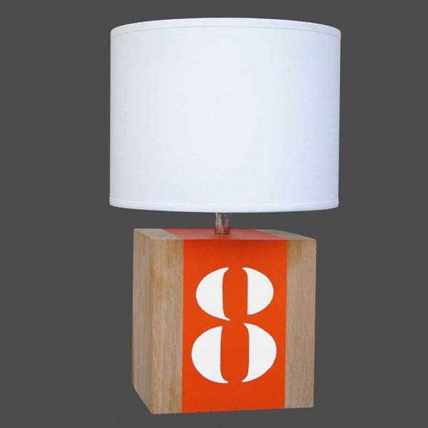 lampe chevet bois l34 bande orange personnalisable