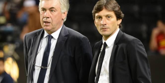 Carlo Ancelotti et Leonardo : l'avenir de l'un pourrait dépendre de la sanction de l'autre. (L'Equipe)