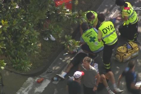 Cyclisme sur route - Clasica San Sebastian - Egan Bernal à terre.  D.R