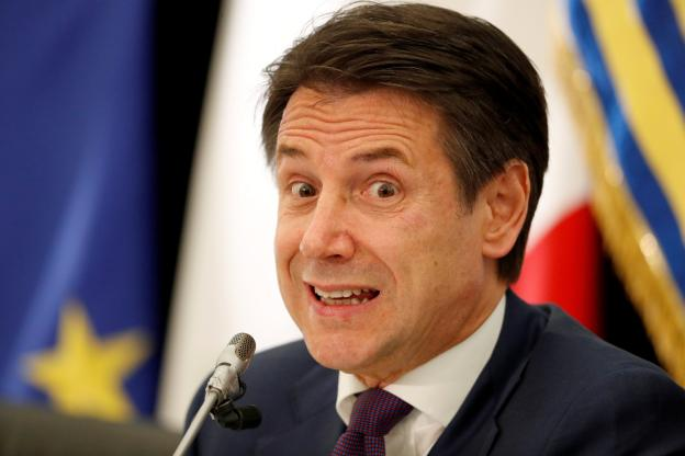 Football - Jean Le Bail - Italian Prime Minister Giuseppe Conte on Friday at a press conference in Rome. (Reuters)
