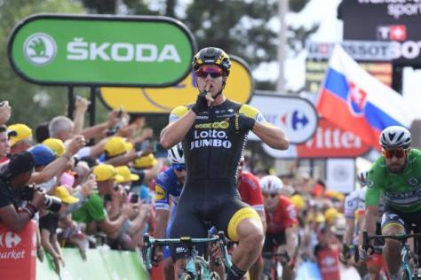 Cyclisme sur route - Cyclisme sur route - Première victoire sur le Tour 2018 pour Dylan Groenewegen. ( S.Mantey L'Equipe)
