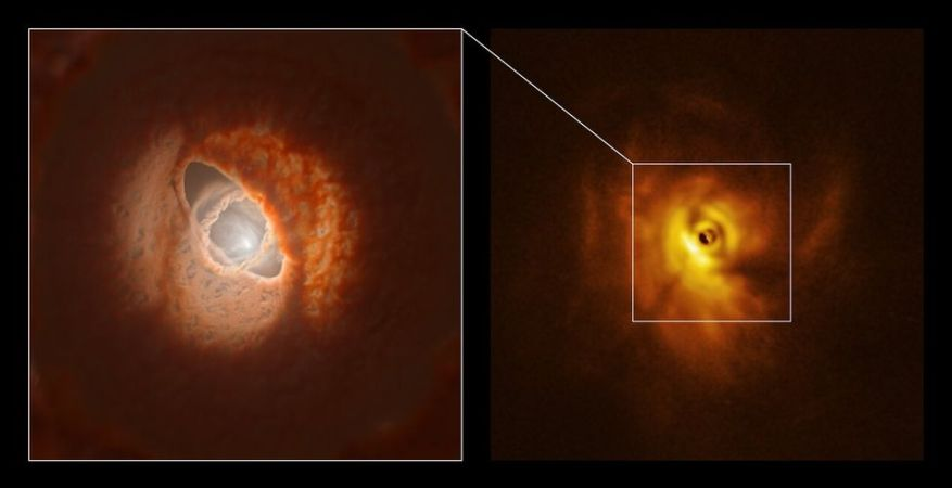 On the right, the photo of GW Orionis showing the central ring separated from the protoplanetary disc, on which it casts a shadow.  On the left, artist's impression of the disc and the dust ring in 3D, from the photo.