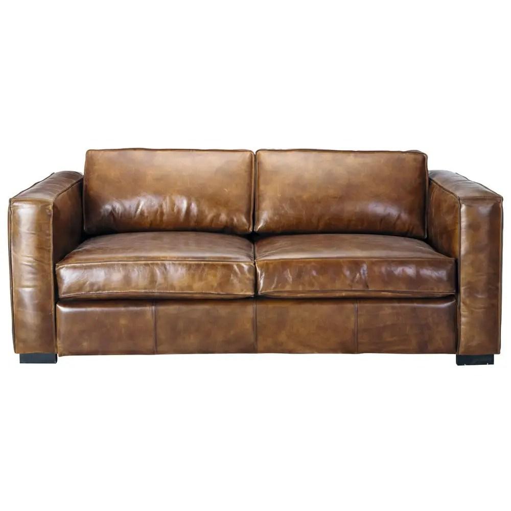 canape lit 3 places en cuir marron berlin