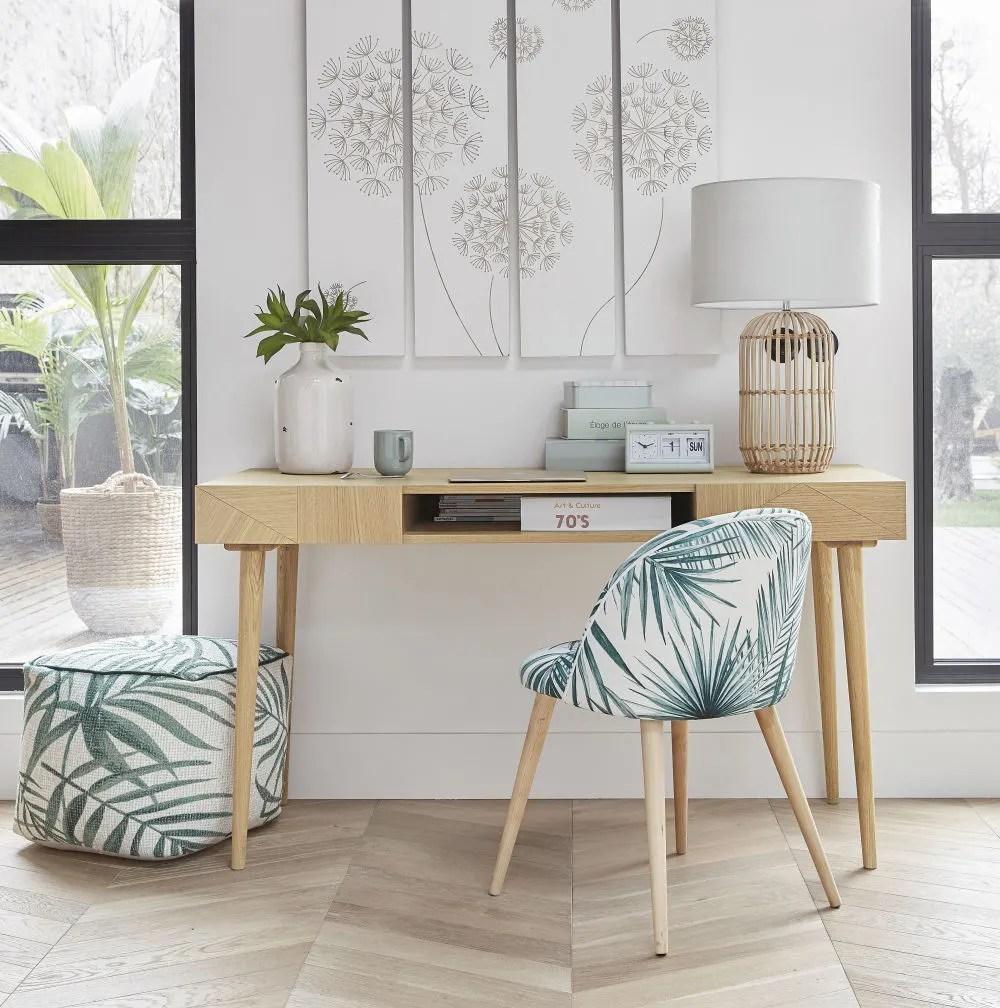 chaise imprime feuilles de palmier et bouleau massif maisons du monde