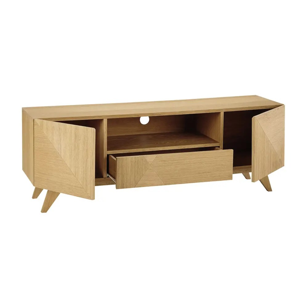 meuble tv vintage 2 portes 1 tiroir origami