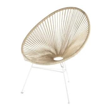 fauteuil en cordes de coton et metal blanc maisons du monde