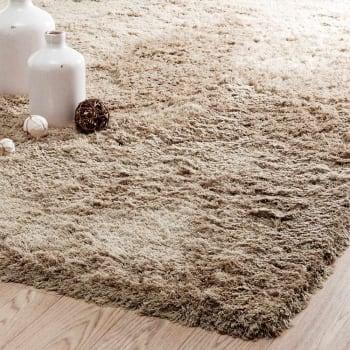 tapis a poils longs en tissu beige 160 x 230 cm maisons du monde