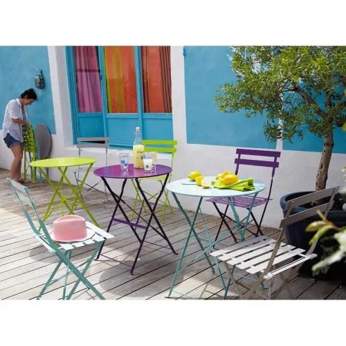2 chaises pliantes de jardin en metal taupe maisons du monde