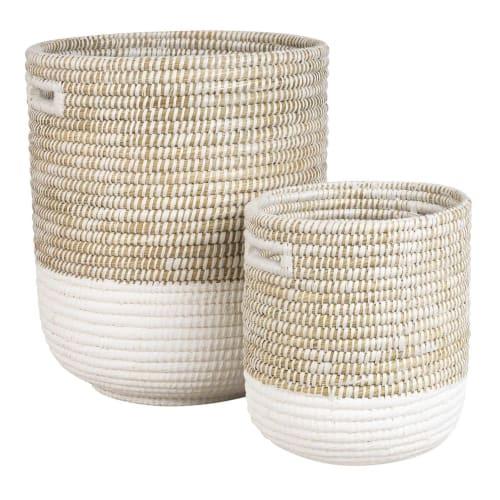 2 paniers a linge en fibres naturelles maisons du monde