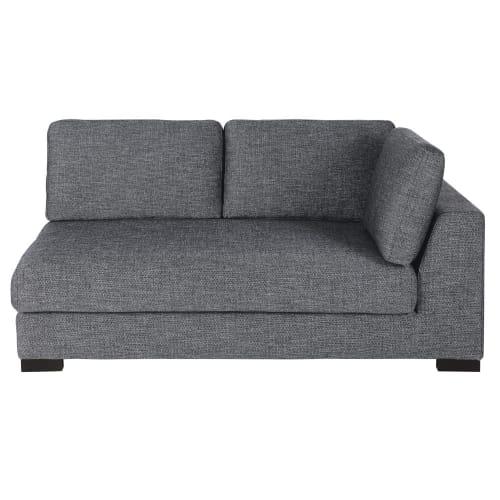 2 sitzer sofamodul mit armlehne rechts ausziehbar und dunkelgrau meliert maisons du monde