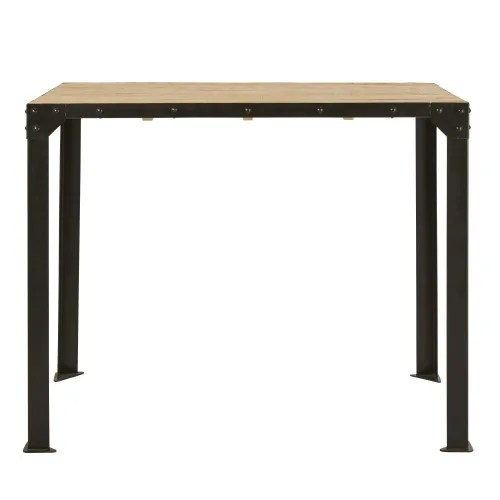 4 seater bar dining table in metal and solid mango wood w130 maisons du monde