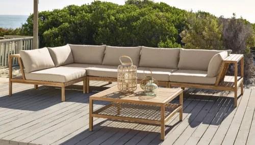 angle de canape de jardin en resine tressee et toile taupe clair maisons du monde